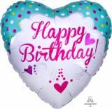 Pallone happy birthday cuore tiffany