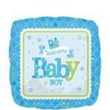 Nascita welcome baby quadrato celeste pallone