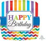 Pallone happy birthday chevron e strisce