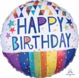 Pallone 'happy birthday'strisce e stelle multicolor
