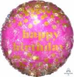 Pallone happy birthday dots rosa