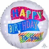 Pallone happy birthday bandierine
