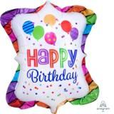 Pallone happy birthday con strisce e voila'