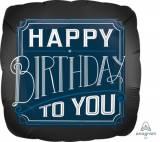 Pallone happy birthday blu e nero