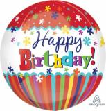 Pallone happy birthday strisce