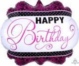 Pallone happy birthday fuxia nero bianco
