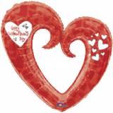 Pallone cuore bucato rosso e bianco