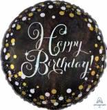 Pallone happy birthday nero e oro sparkling