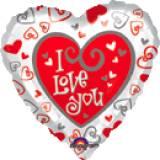 Minishape cuore decori rossi e bianchi