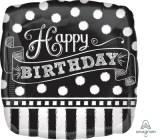 Pallone happy birthday black&white