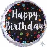 Pallone happy birthday pois colorati