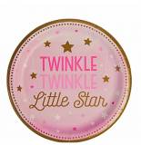 Twinkle little star rosa baby shower  piatto dessert