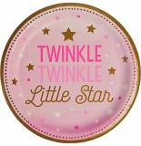 Twinkle little star rosa baby shower piatto piano