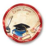 Coordinato Piatto piano laurea con libri e tocco