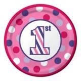 Bollo piatto 1 compleanno rosa