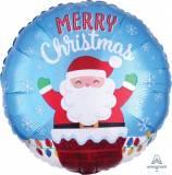 Pallone natale babbo natale merry christmas con camino