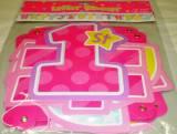 Festone in cartoncino 1 compleanno rosa