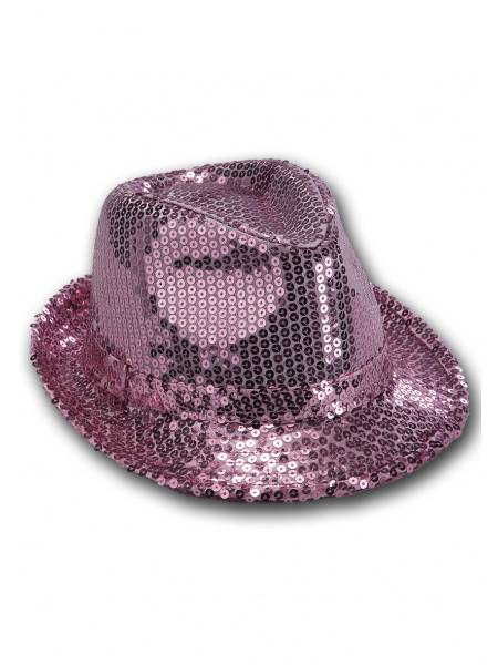 CAPPELLO GANGSTER IN PAILLETTES ROSA