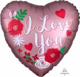 San valentino  cuore I love you rose satin con rose